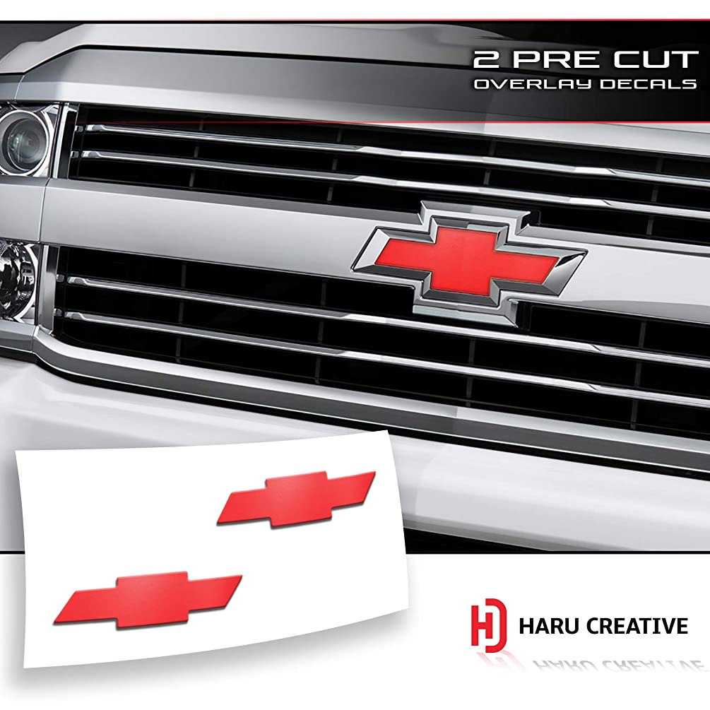 Haru Creative - Front Hood Grille Tailgate Bumper Trunk Bowtie Emblem Overlay Vinyl Decal Sticker Compatible Fits Chevy Chevrolet Silverado 2016-2018 - Matte Black