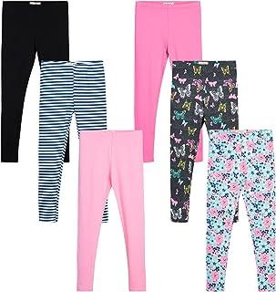 One Step Up Girls' Active Leggings Set - 6 Pack Full Cotton Length Leggings (Little Girl/Big Girl)