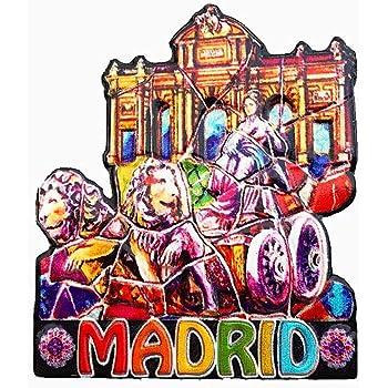 Madrid España imán de nevera 3D artesanía recuerdo resina imanes refrigerador colección regalo de viaje: Amazon.es: Hogar