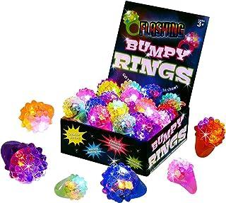 Kangaroo Flashing LED Light Up Toys, Bumpy Rings, 18 Pack