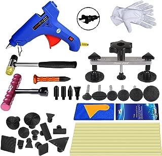 Super PDR 31pcs Auto Dent Puller Paintless Dent Repair Tools kit Dent Bridge Dent Puller Kit with Hot Melt Glue Gun Glue Sticks for Car Body Dent Repair