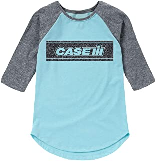 Case IH Black Glitter Stripe - Youth Girl Shirt Tail Raglan