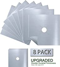 Antallcky 8-Pack Silver Stove Burner Covers Gas Range Protectors Gas Cooktop Liner Cover Clean Mat Pad,Reusable, Non-Stick, Dishwasher Safe, Easy to Clean 8 Pack - Size 10.6 x 10.6 inch