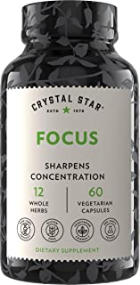Crystal Star Focus Supplement (60 Capsules) – Herbal Nootropic Brain, Concentration, Mental Clarity & Memory Booster - Cha...