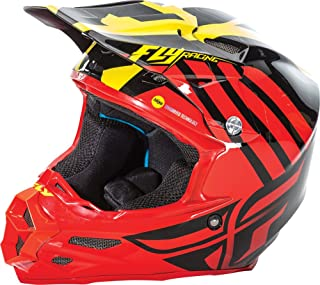 Fly Racing Unisex-Adult Full-face Style F2 Carbon Mips Zoom Helmet (Red/Black/Yellow, X-Small)