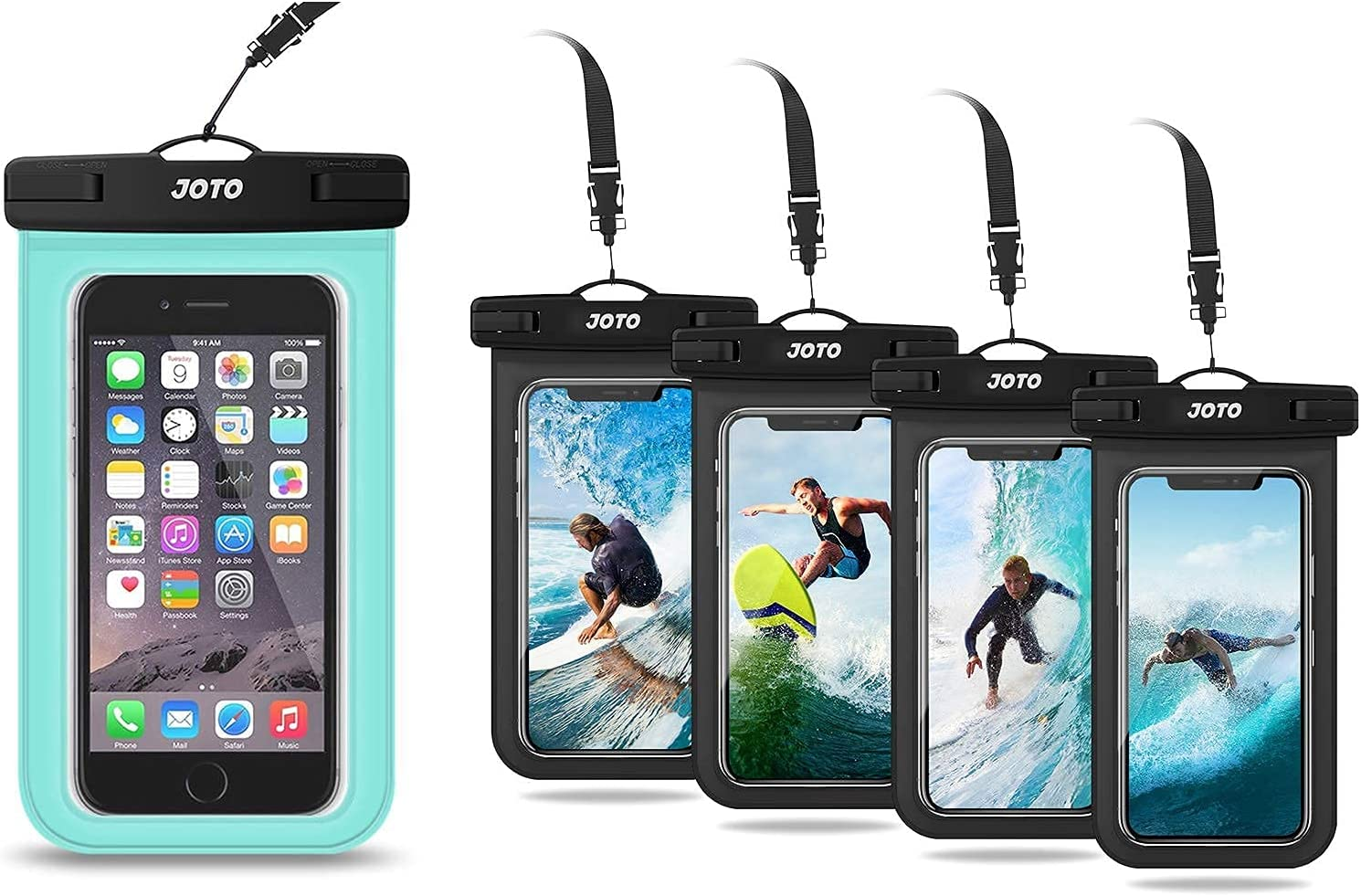 JOTO Universal Waterproof Pouch Cellphone Dry Bag Case(Green) Bundle with 4 Packs(Black) Universal Waterproof Pouch Cellphone Dry Bag Case
