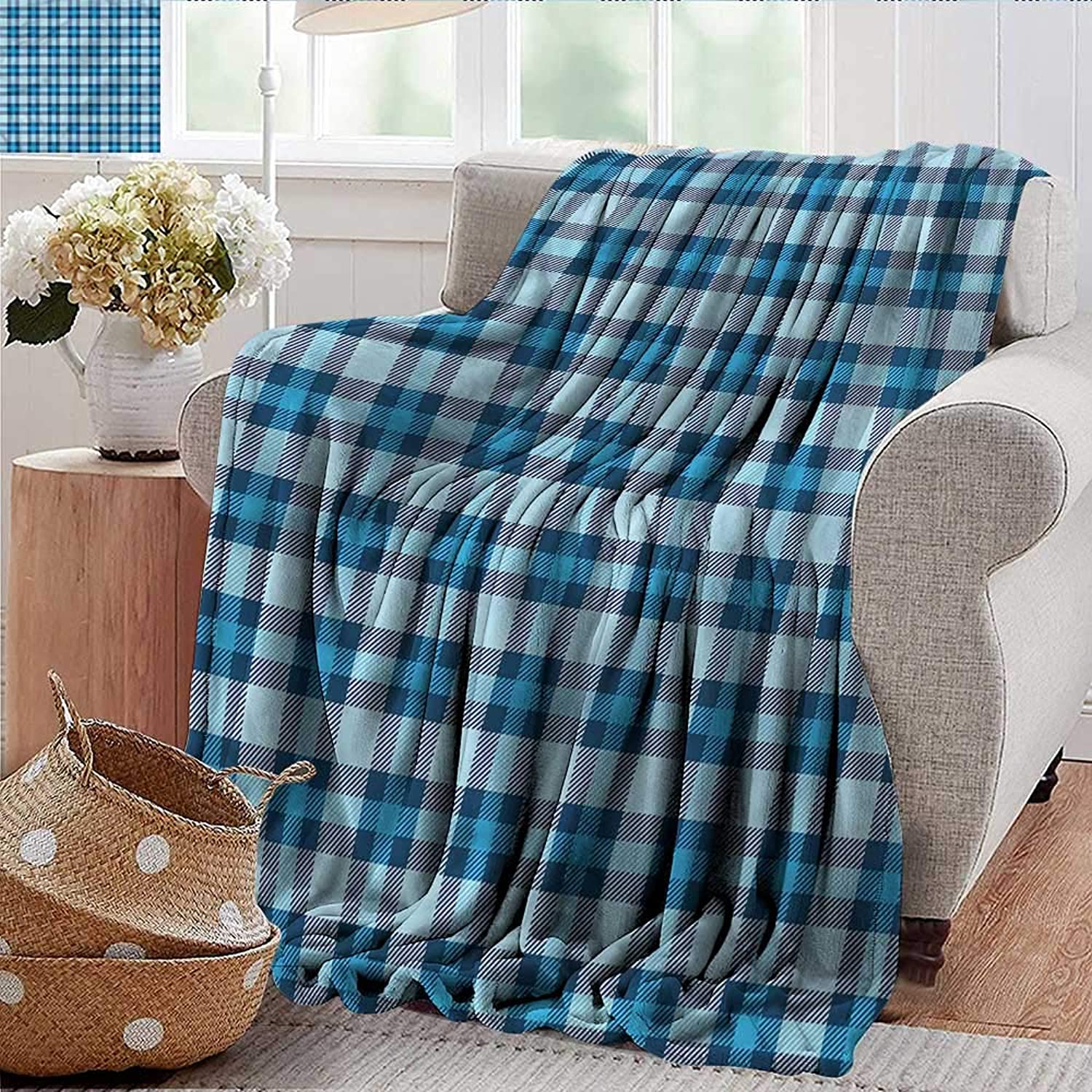 Xaviera Doherty Weighted Blanket for Kids Checkered,Picnic Tile in bluee Soft Summer Cooling Lightweight Bed Blanket 50 x60