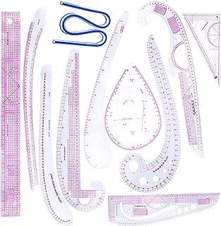 FLAMEER 11ピース 裁縫用 定規 ルーラー メジャー セット 洋裁 多機能 ストレート 曲線 三角形 手芸 DIY