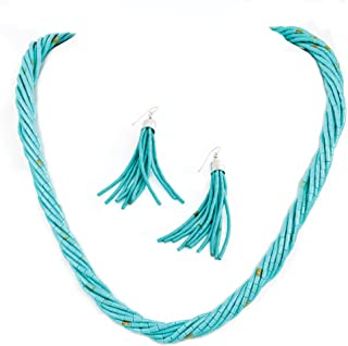 Stauer - Women's Turquoise Jewelry Set, Necklace and Earrings, Heishi Blue Turquoise