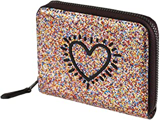 Coach Keith Haring Glitter Heart Small Zip Wallet F55639
