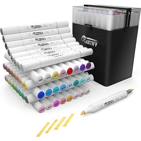 ARTIFY 48 marqueurs de ciseau de pinceau de couleur marqueurs d'artiste à double pointe professionnels ensemble de marqueurs de dessin avec étui de transport pour coloriage adulte et autre débutant