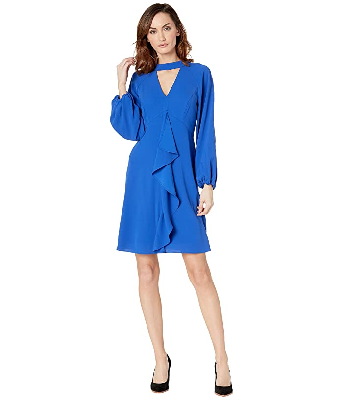 Adrianna Papell  Fancy Crepe Ruffle Dress (Moroccan Blue) Womens Dress