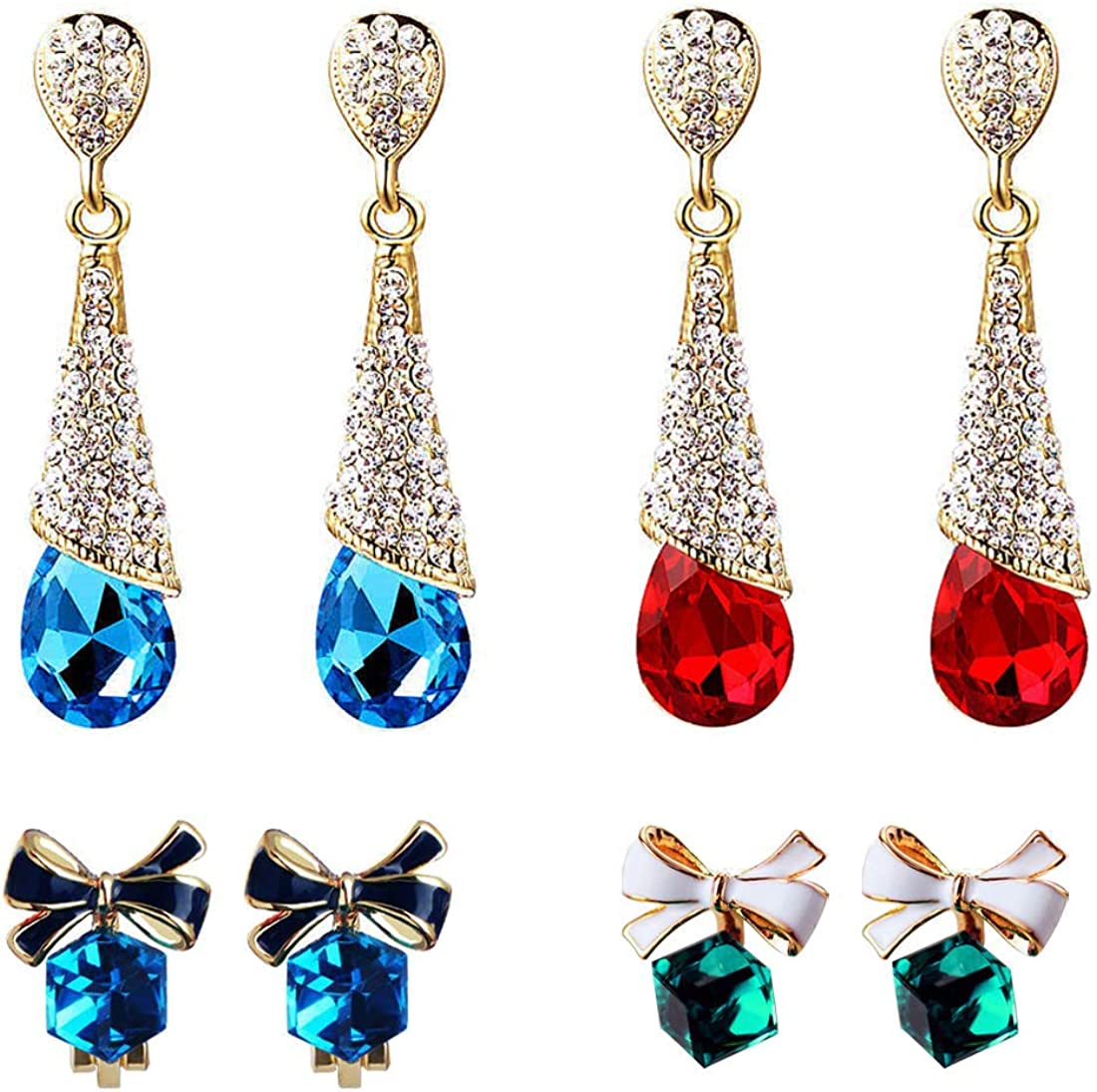 Clip On Earrings Set, Non Pierced Earrings Drop/Cubic Crystal Ear Studs Clips Bow for Ladies on Wedding Party and Leisure Wearing(4 Pair)