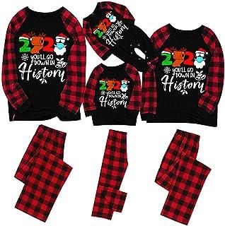 Pijama Navidad Familia - Pijamas Parejas a Juego Hombre Mujer Niño Niña Conjunto Dos Piezas a Cuadros Top de Manga Larga + Pantalones Merry Christmas 2020 Merry Christmas y 2021Hello