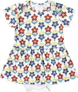 Body vestido em meia malha e suedine, Marisol Play, Bebê-meninas, branco, M