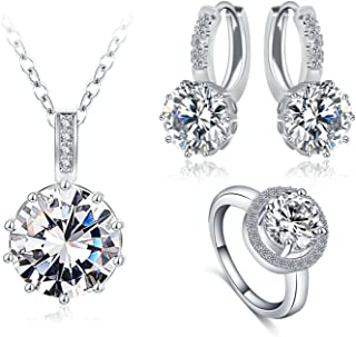 Silver Plated Necklace Hoop Earrings Ring Jewelry Set for Women CZ White