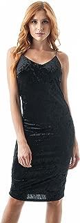 Crushed Velvet V Neckline Cami Midi Body Con Dress