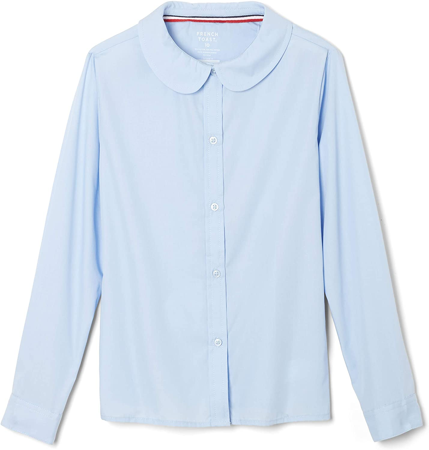 French Toast Girls' Long Sleeve Woven Shirt with Peter Pan Collar (Standard & Plus)