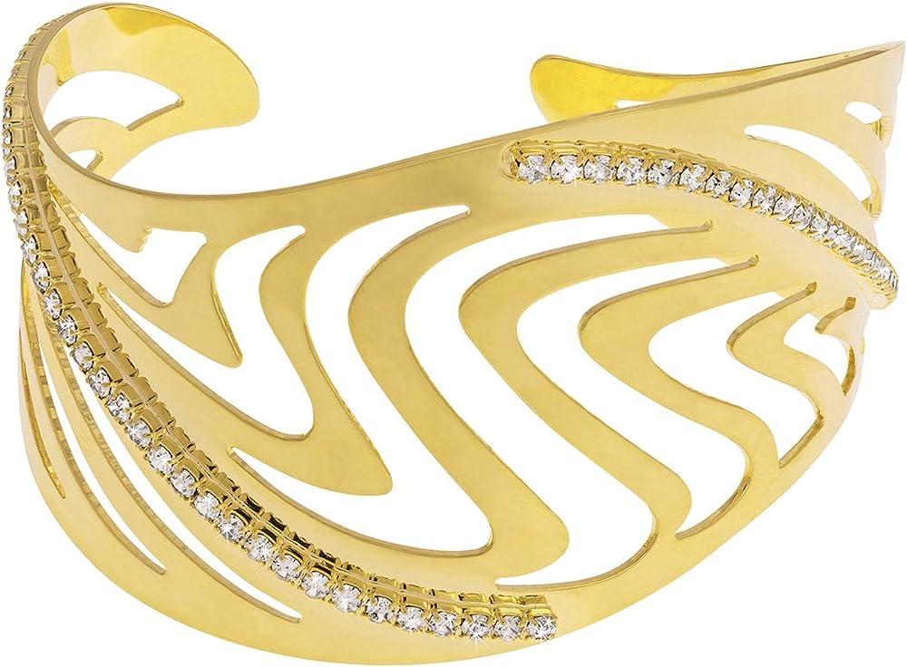 Stroili , bracciale bangle medium per donna, in metallo dorato lucido e cristalli 1607313