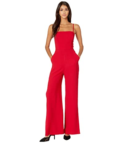 BCBGeneration Slit Ankle Woven Jumpsuit GEF9181542 (Ruby Red) Women