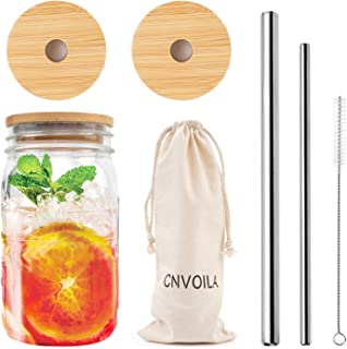 Mason Jar Lids with Straw Hole, ECO Reusable Bamboo Mason Jar Lids for Regular Mouth Mason Jar with 2 Reusable Stainless Steel Straw