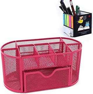 Amtido mesh Desk organizer clip 5/scomparti Desk supply Caddy per conservare penne evidenziatori e altri per ufficio organizzato matite temperamatite nero