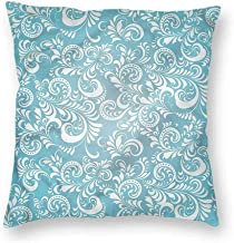 Mannwarehouse Pale Blue Polyester Pillowcase Floral Frosty Pattern Suitable for Hair and Skin healthW18 x L18