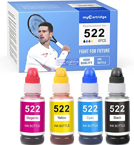 2021 MYCARTRIDGE new arrival Compatible Ink Bottle Replacement for Epson 522 T522 Refill for EcoTank ET-2720 ET-4700 (Black, Cyan, Magenta, Yellow, popular 4-Pack) outlet online sale