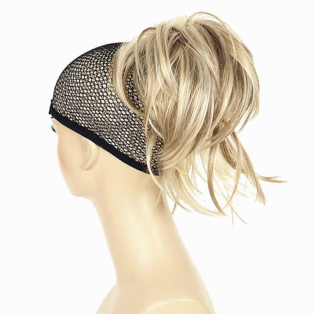 Adjustable Messy Style Ponytail Hair Extension Synthetic Hair-Piece with Jaw Claw Amzing Shape For You Hivision(H16/613 Blonde Highlighted)