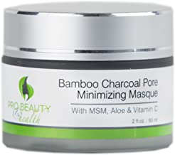 Bamboo Charcoal Face Mask with Activated Charcoal, MSM, Aloe and Vitamin C - Deep Cleanser, Exfoliator, Pore Minimizer, Natural and Organic - 2 Fl Oz