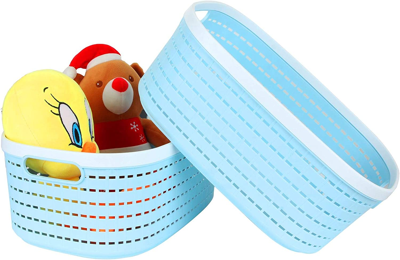 "2 Pack Plastic Storage Basket Blue, Large Plastic Woven Basket with Portable Handle, Kitchen Pantry Refrigerator Desktop Storage Boxes for Cabinet Freezer Bathroom Closet, 15"" x 10"" x 6"""