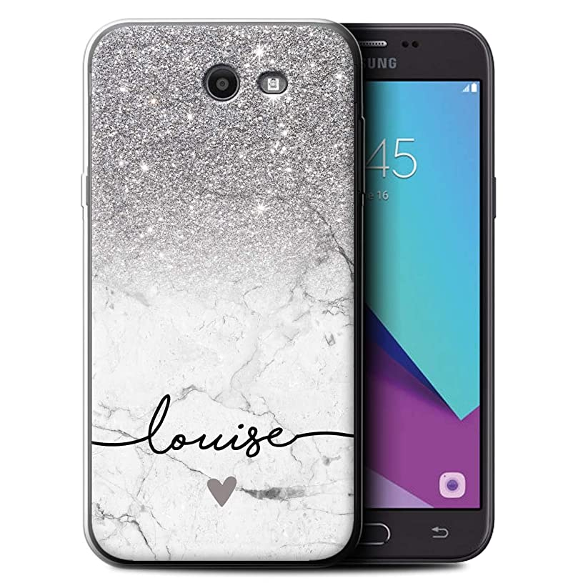 Personalized Custom Handwriting Glitter Ombre Gel/TPU Case for Samsung Galaxy J7 2017/J727 / Silver Sparkle White Marble Design/Initial/Name/Text DIY Cover