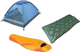 Alpinizmo High Peak USA 20F Ranger & Latitude Sleeping Bags 3 Men Tent Combo, Blue/Orange, One Size