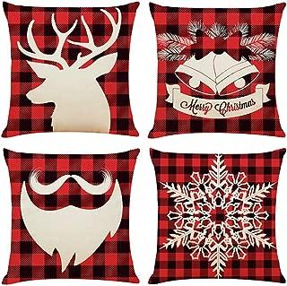 Emopeak Christmas Throw Pillow Cover Set of 4, 18