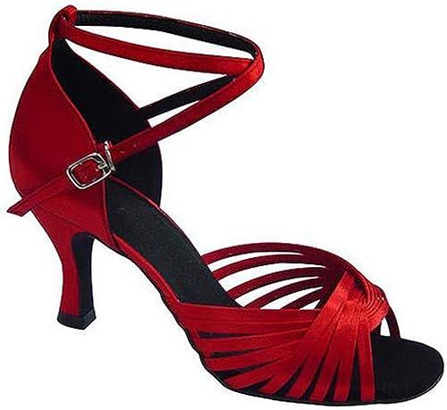 BYLE Sangle de Cheville Sandales en Cuir Chaussures de Danse Modern'Jazz Samba Adultes d'été Chaussures de Danse Latine Chaussures Chaussures de Danse Latine Sangle rouge