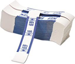 PM Company 55027 Color-Coded Kraft Currency Straps- Dollar Bill- $100- Self-Adhesive- 1000/Pack