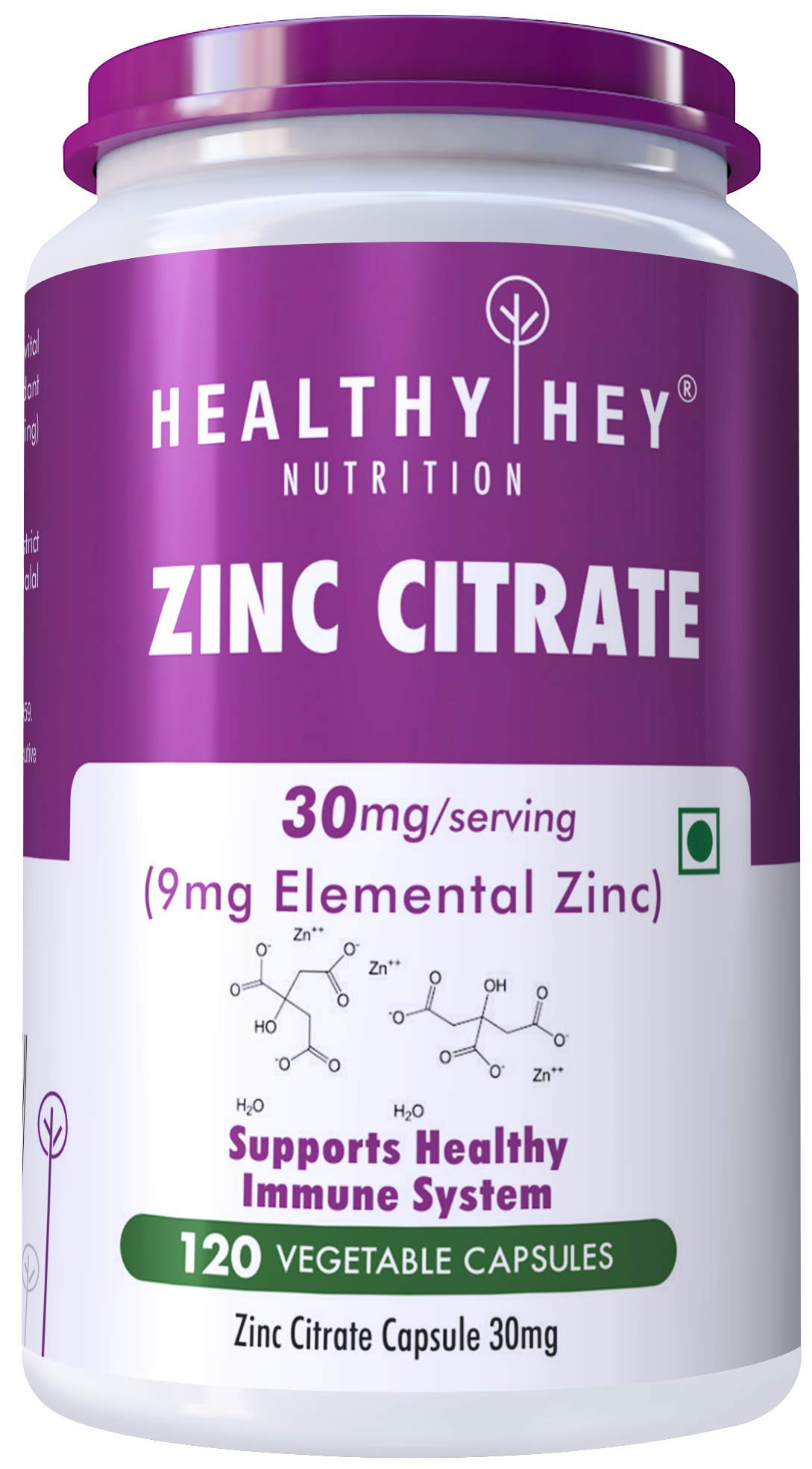 Healthy Hey Nutrition Zinc Citrate, Supports Immune and Immunity - 120 Veg Capsules