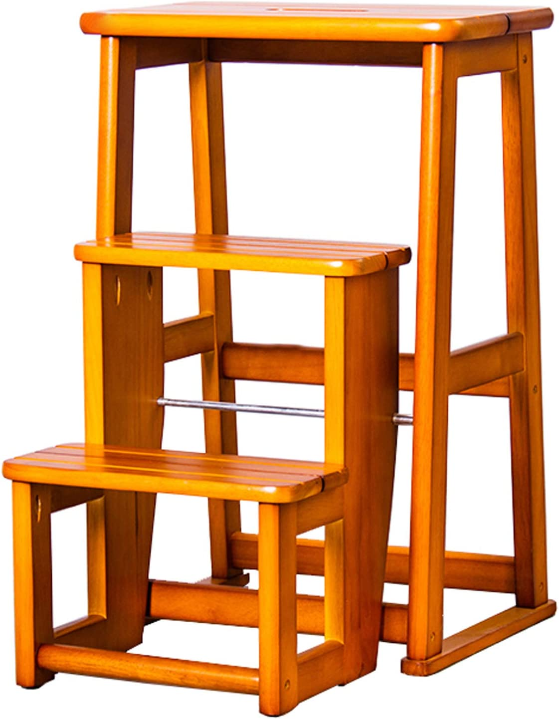 QDY 2 sold out 3 Step Fixed price for sale Wood PortableFoldUpFootstool Wooden Ladder Fold
