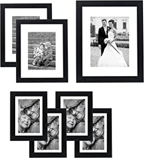 Americanflat 7 Pack Gallery Wall Set | Displays One 11x14, Two 8x10, and Four 5x7 inch photos. Shatter-Resistant Glass. Ha...