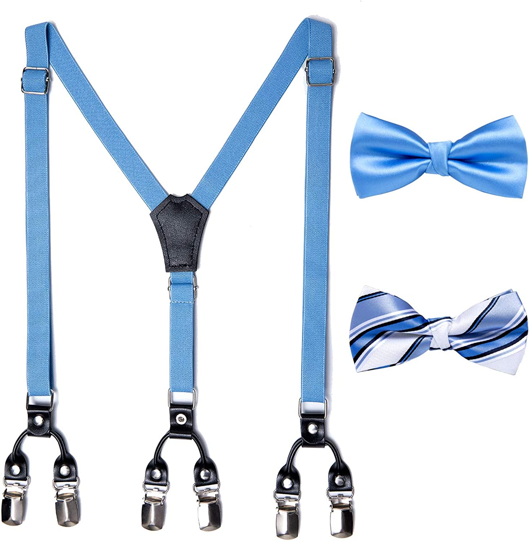 DiBanGu Child Kids Suspenders Bow Tie Set for Men, Y-Shape Elastic Adjuatble Boys Girls Suspenders