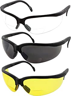 3 Pairs Combo Bifocal Safety Reading Glasses - Assorted Colors Clear Black Yellow Lens - With Side Cover (Diopter +2.50)