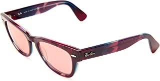 RB4169 Laramie Square Sunglasses, Violet Top Texture/Crystal Red Photo, 53 mm