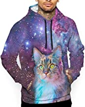 Go KJ Unisex Proud Cat with Space Hoodies Casual Pullover Hood Jackets Sweatshirt
