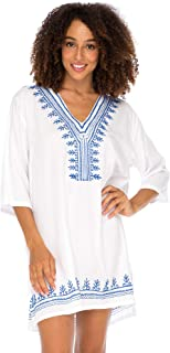 Back From Bali Womens Boho Embroidered Swimsuit Cover Up Loose Fit Casual Tunic Top Dress Resort Wear