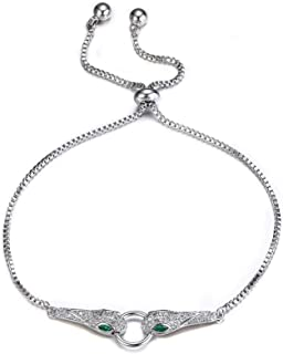Flyonce Snake Bracelet Sparkle Cubic Zirconia Adjustable Slide Bracelets Dainty Animal Jewelry for Women Girls