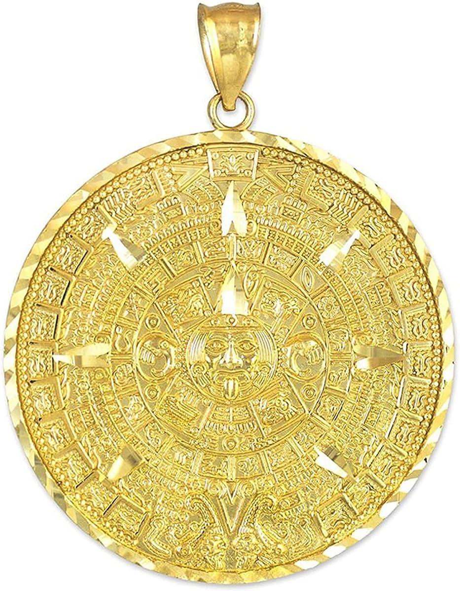 14K Yellow Gold Round Aztec High quality Columbus Mall new Mayan Choic - Calendar Charm Pendant