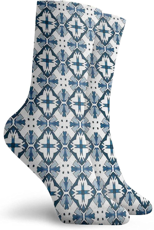 Compression High Socks-Traditional Portuguese Azulejo Tiles Pattern Illustration Best for Running,Athletic,Hiking,Travel,Flight