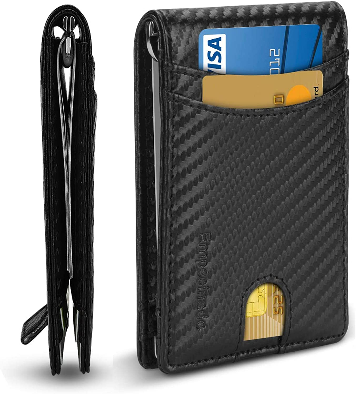 Leather Slim Wallets for Men Minimalist Money Clip RFID Blocking Wallet