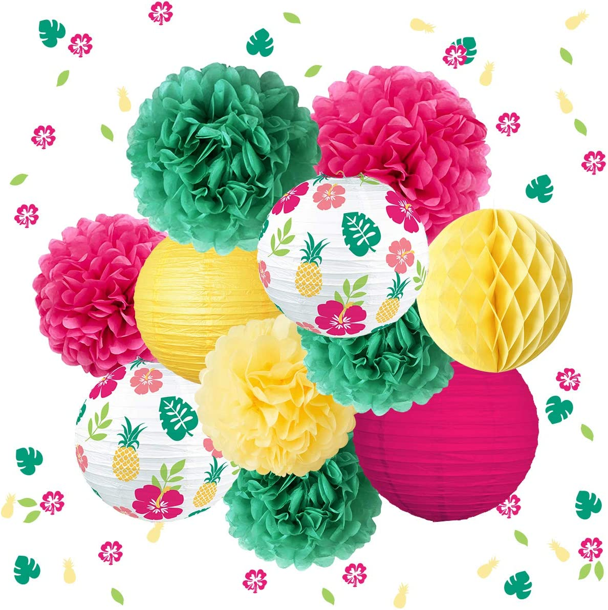 NICROLANDEE Hawaiian Tropical Party Decorations - 12Pcs Green Yellow Paper Lanterns Tropical Palm Hibiscus Flowers Confetti for Luau Party, Summer Party, Beach Party, Wedding, Birthday, Baby Shower