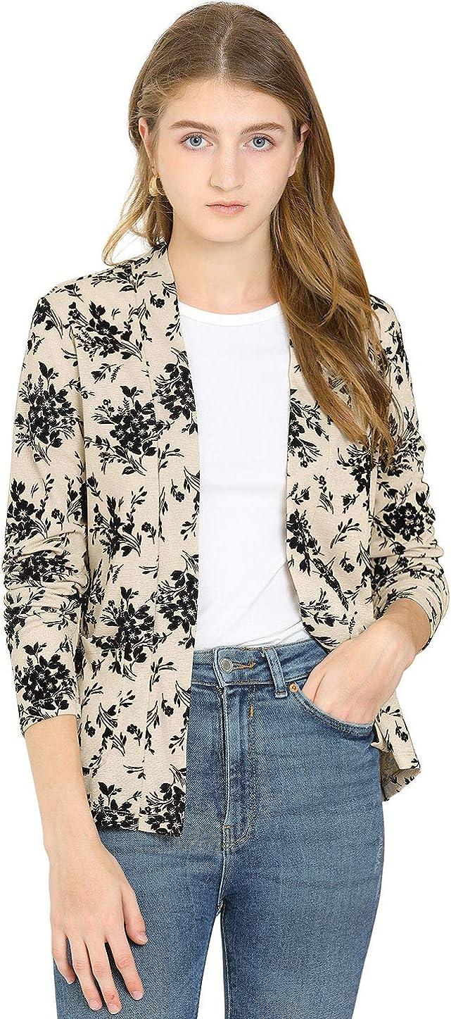 Allegra K Women's Open Front Blazer Long Sleeve Metallic Casual Floral Cardigan